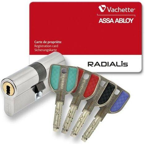 VACHETTE Cylindre de Serrure Débrayable Radialis - Pour Porte Extérieure/Entrée - Haute Sécurité - 4 Clés Incopiables - 32,5x42,5 mm