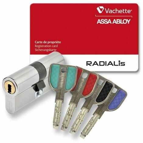 VACHETTE Cylindre de Serrure Débrayable Radialis - Pour Porte Extérieure/Entrée - Haute Sécurité - 4 Clés Incopiables - 42,5x42,5 mm