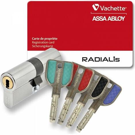 VACHETTE Cylindre de Serrure Radialis - Pour Porte Extérieure/Entrée - Tres Haute Sécurité - 4 Clés Incopiables - 42,5x42,5 mm