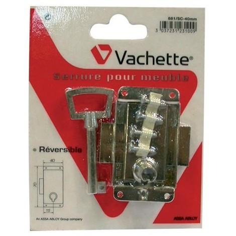 VACHETTE - Serrure armoire à pattes - nickelée - 30 mm