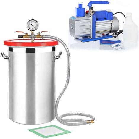 Vacuum chamber 27,7L Vacuum pump 100 l/min Industrial pump Air conditioning SET