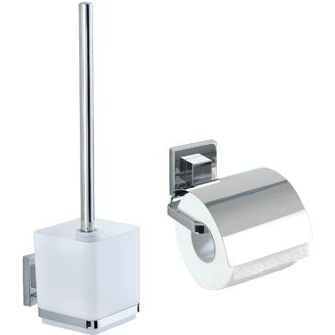 VacuumLoc® Set-WC : Brosse WC suspendu et Porte Papier Toilette mural, Quadro