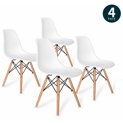 Vadim Lot de 4 Chaises salon à manger --design scandinave --Blanc Bois