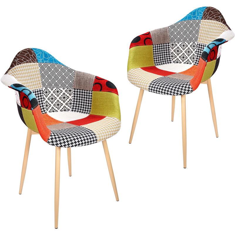 Sessel 2 Set Stühle Esszimmerstühle gemischte Farbe - Vadim