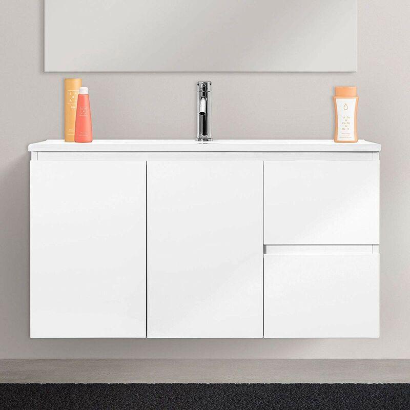 Vaduz White - Mobile bagno in legno con 2 Ante E 2 Cassetti, Lavabo in Ceramica, 80 x 36 x 50 Cm Colore Bianco Laccato [Colore - Bianco] - BRICOZONE