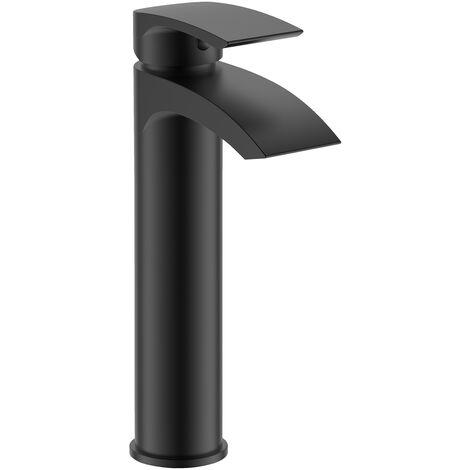Vago Bathroom Basin Mixer Tall Black Matt Tap