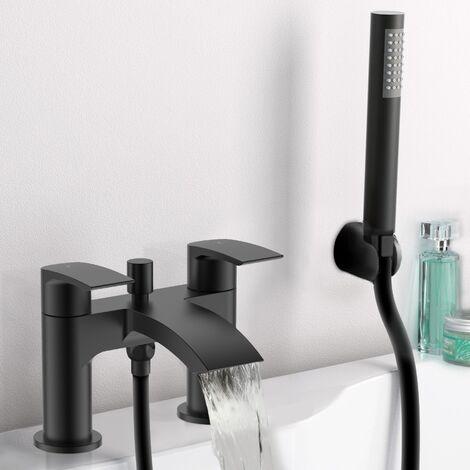 Vago Waterfall Bath Shower Mixer Black Matt Tap