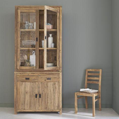 Vaisselier en bois de teck recyclé 4 portes 2 tiroirs - Naturel