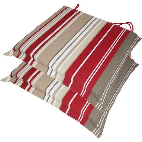 Valanced Seat Pad x 2 Red Stripe