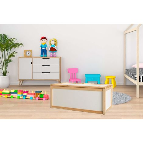 Valdern BEECH WOOD - TOYBOX KIDS CHILDREN TOY STORAGE - IDEAL FOR PERSONALISED TOY BOXES