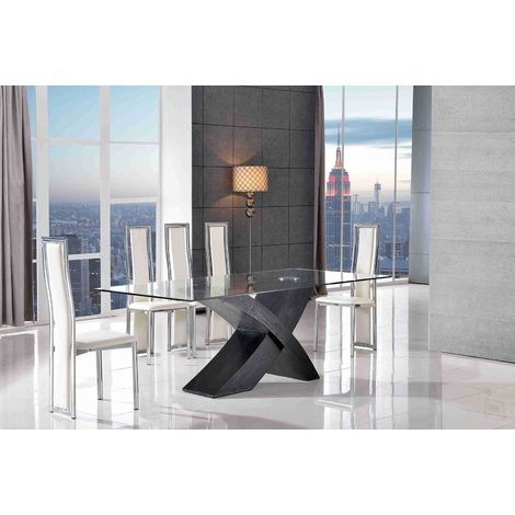 Valencia 200 cm Glass & Wood Dining Table with 6 Elsa Dining Chairs (Ivory)
