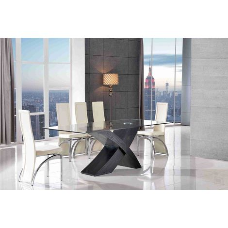 Valencia Black 200 cm Glass & Wood Dining Table with 8 Alisa Dining Chairs (Ivory)