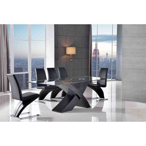 Valencia Black 200 cm Glass & Wood Dining Table with 8 Zed Dining Chairs (Black)