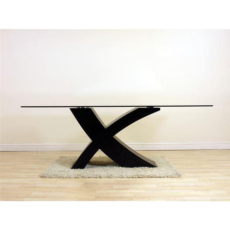 Valencia Black 200cm Wood and Glass Dining Table