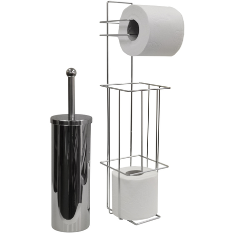 VALENCIA - Chrome Toilet Brush and Loo Roll Dispenser - Silver