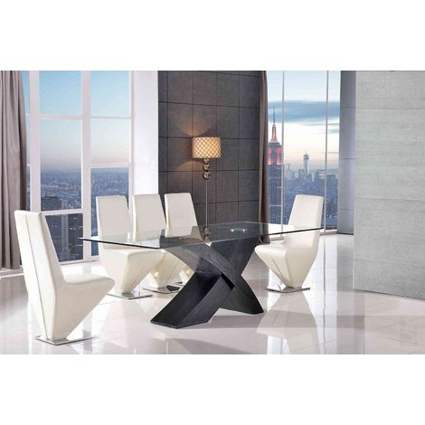 VALENCIA DINING TABLE BLACK LARGE & 6 RITA IVORY CHAIRS