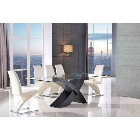 VALENCIA DINING TABLE BLACK SMALL & 4 ZED IVORY CHAIRS