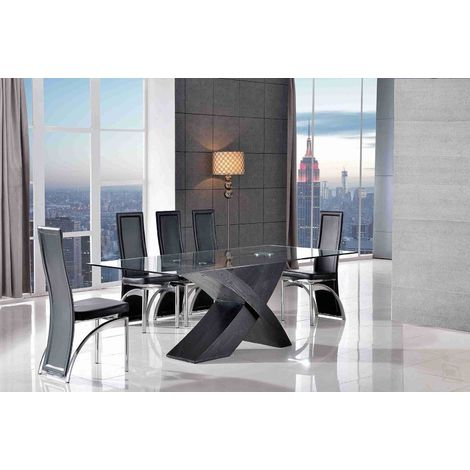 VALENCIA DINING TABLE BLACK SMALL & 6 ALISA BLACK CHAIRS