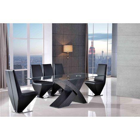 VALENCIA DINING TABLE BLACK SMALL & 6 RITA BLACK CHAIRS