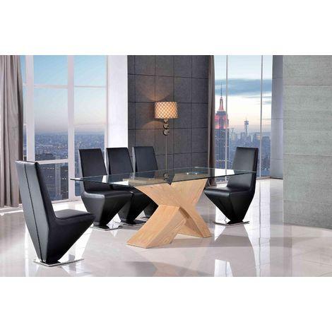 VALENCIA DINING TABLE OAK LARGE & 6 RITA BLACK CHAIRS