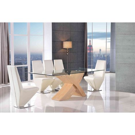 VALENCIA DINING TABLE OAK LARGE & 6 RITA IVORY CHAIRS