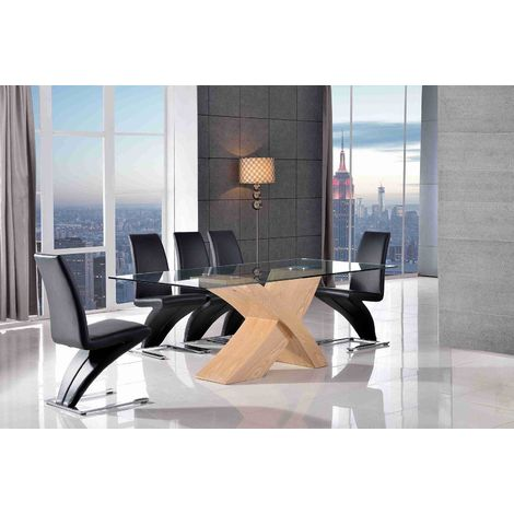 VALENCIA DINING TABLE OAK LARGE & 6 ZED BLACK CHAIRS