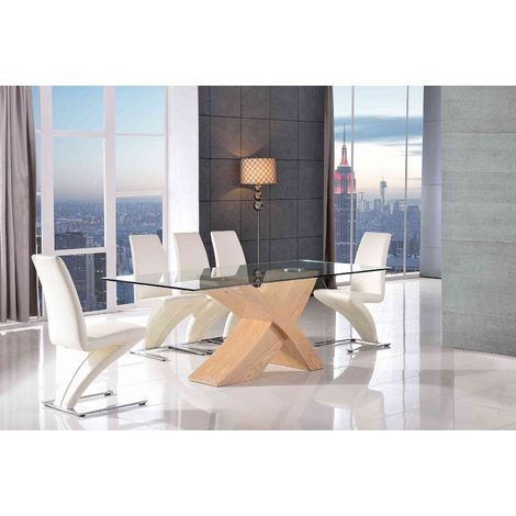 VALENCIA DINING TABLE OAK LARGE & 6 ZED IVORY CHAIRS