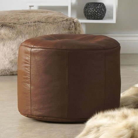 Icon Real Leather Pouffe 43cm X 28cm Footstool