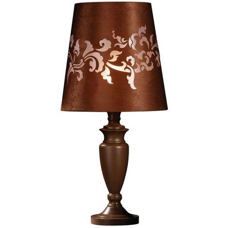 Valencia Metal Bedside Lamp/Desk Lamp Chocolate Laser Cut Shade