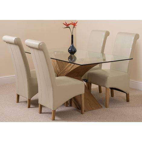 Valencia Oak 160cm Wood and Glass Dining Table with 4 Montana Dining Chairs [Ivory Leather]