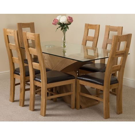 Valencia Oak 160cm Wood and Glass Dining Table with 6 Yale Solid Oak Dining Chairs [Light Oak and Brown Leather]