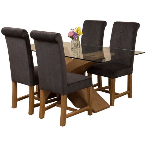Valencia Oak Small 160cm Wood and Glass Dining Table with 4 Washington Dining Chairs [Black Fabric]