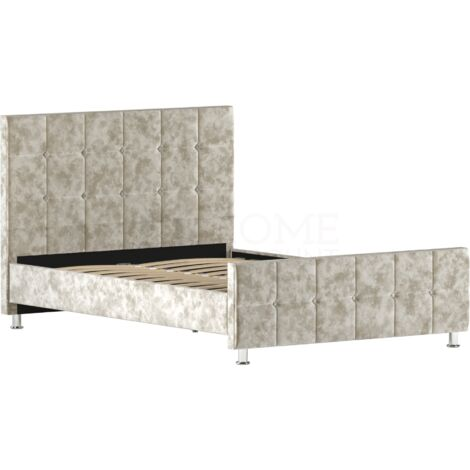 Valentina Double Bed, Crushed Velvet Champagne