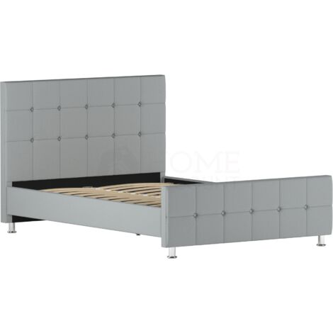 Valentina Double Bed, Light Grey Linen
