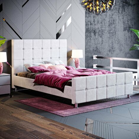 Valentina Double Bed, Light Grey Velvet