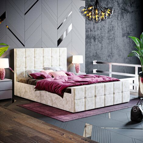 Valentina Double Ottoman Bed, Crushed Velvet Champagne