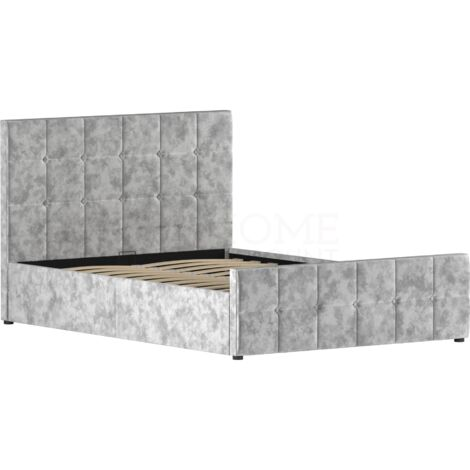 Valentina Double Ottoman Bed, Crushed Velvet Silver