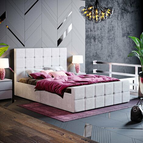 Valentina Double Ottoman Bed, Light Grey Velvet