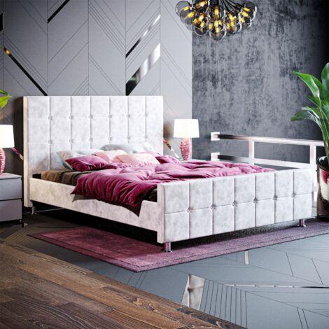 Valentina King Size Bed, Crushed Velvet Silver