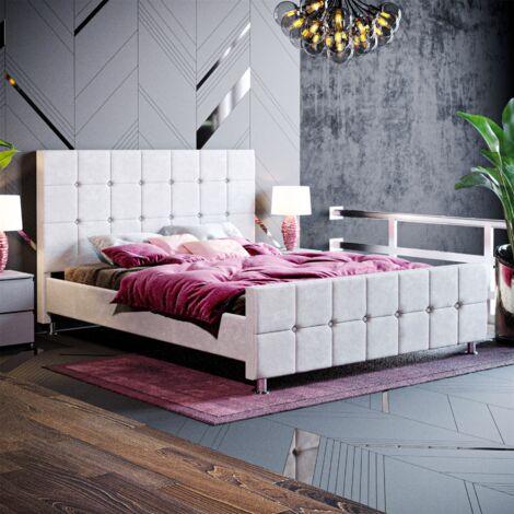 Valentina King Size Bed, Light Grey Velvet