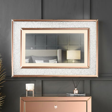 """main image of """"Valentina - Luxurious Wall Rose Gold Mirror with Touch Sensor LED Lights Crushed Diamond Design Perfect For Bedroom Hall"""""""
