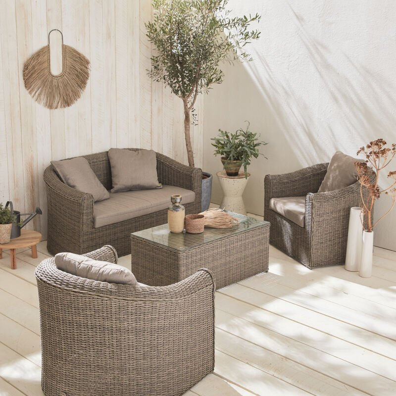 Peachy Valentino 4 Seater Round Rattan Garden Sofa Set Grey Beige Inzonedesignstudio Interior Chair Design Inzonedesignstudiocom
