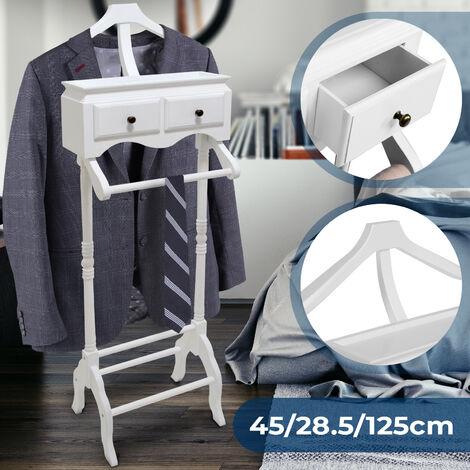 Valet de Chambre Chevalet en Blanc Porte-Vetement 2 Tiroirs 45x28x125cm