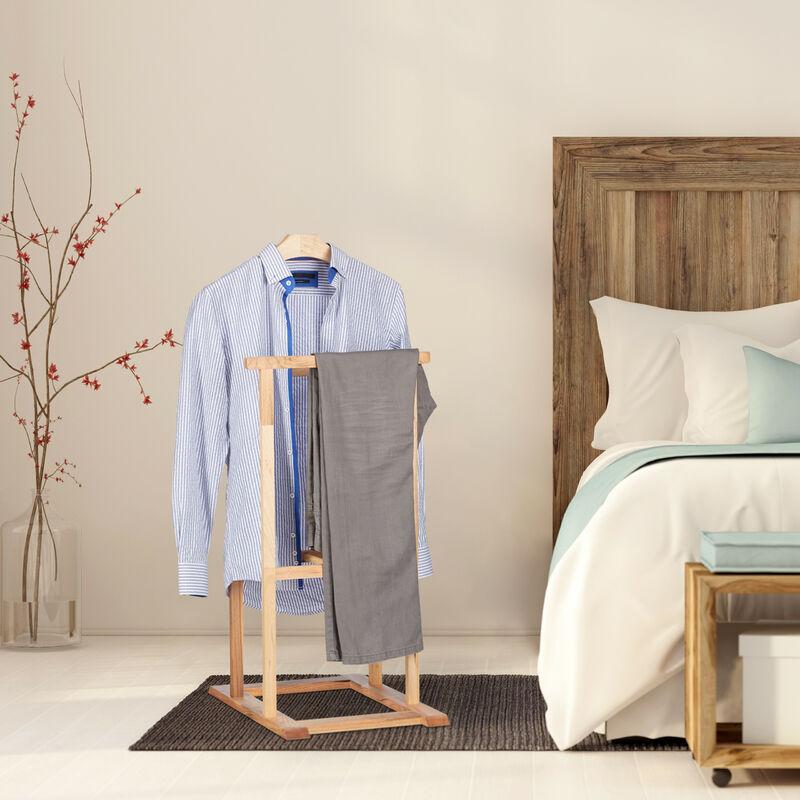 Valet de chambre en bois de noyer porte-vêtements sur pied pantalon valet  nuit HxlxP: 102 x 47 x 50 cm, nature