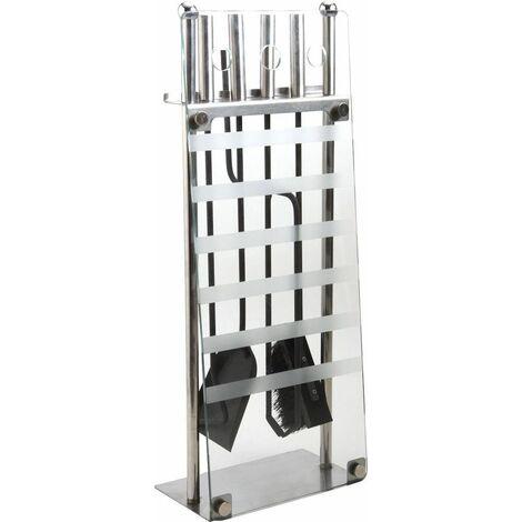 Valet de cheminée moderne métal et verre - GCH185S