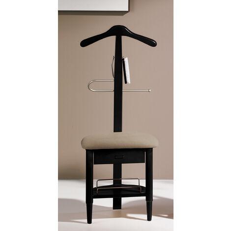 Valet de Nuit/Chaise Noir en hêtre massif avec plateau porte chaussures, tiroir et accessoires pour chaussures, 41 x 45 x 115 cm