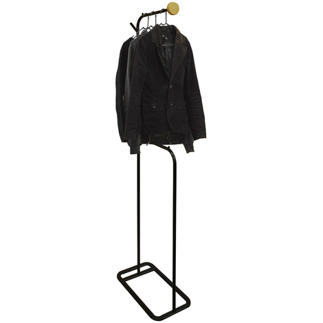 VALET - Modern Metal Clothes Storage / Open Wardrobe Hanger - Black / Natural