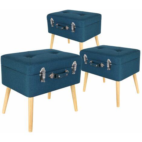 Valigia - Lot de 3 Tabourets Coffre Bleus - Bleu