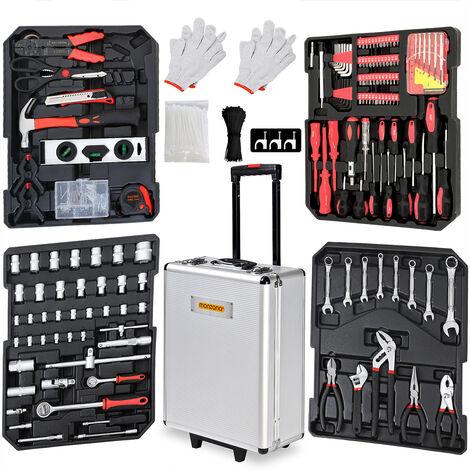 Valise à outils 899 pièces Poignée télescopique Malette à outils à roulettes Boite à outils Set d'outils Clés Tournevis Marteau