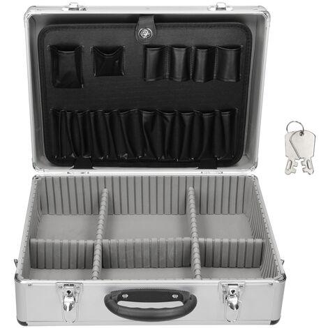 Valise aluminium vide malette à outils caisse avec compartiments de rangement